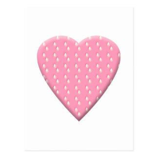Pink Strawberry Heart. Postcard