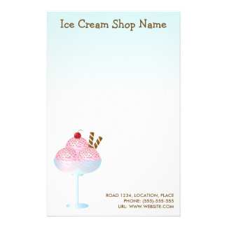 Pink Strawberry Ice Cream Business Stationery