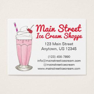 Pink Strawberry Ice Cream Shake Milkshake Custom Business Card