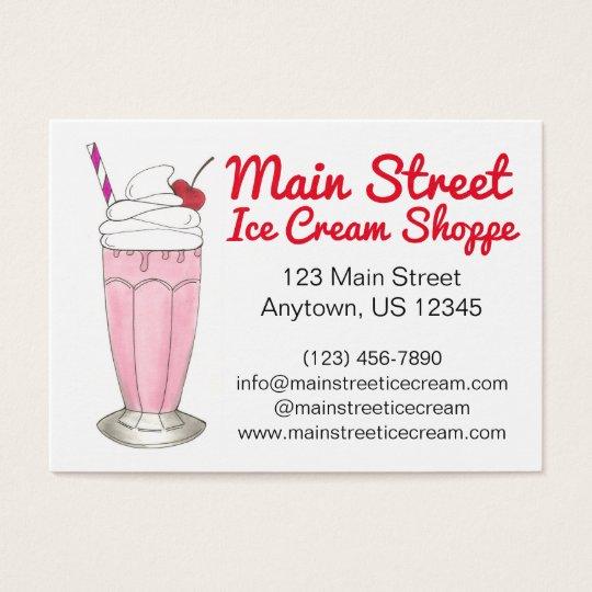 Pink Strawberry Ice Cream Shake Milkshake Custom Business