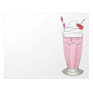 Pink Strawberry Ice Cream Shake Milkshake Dessert Notepad