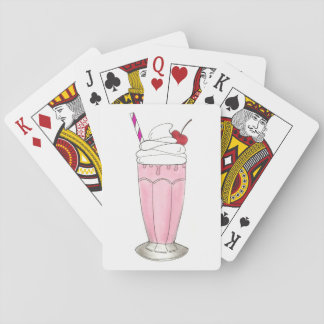 Pink Strawberry Ice Cream Shake Milkshake Dessert Playing Cards