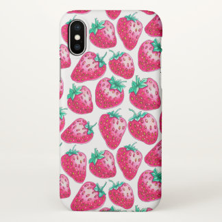 Pink Strawberry on white background iPhone X Case