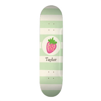 Pink Strawberry; Pastel Green Stripes Skate Board Deck