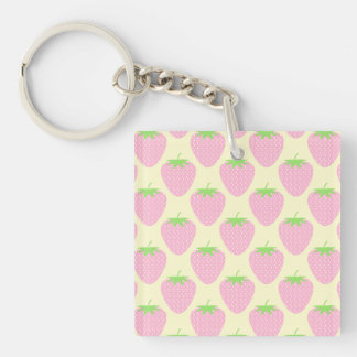 Pink Strawberry Pattern. Key Ring