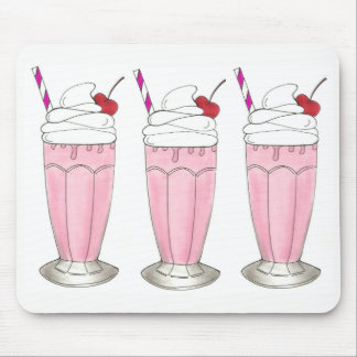 Pink Strawberry Shake Ice Cream Milkshake Foodie Mouse Mat