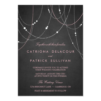 Pink String Lights Chalkboard Wedding Invitation