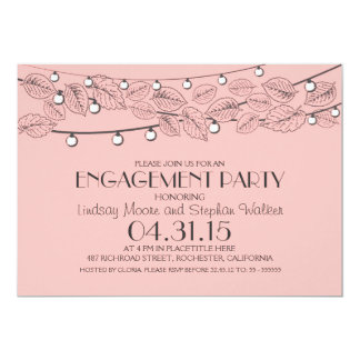 pink string lights & tree leaves engagement party 13 cm x 18 cm invitation card