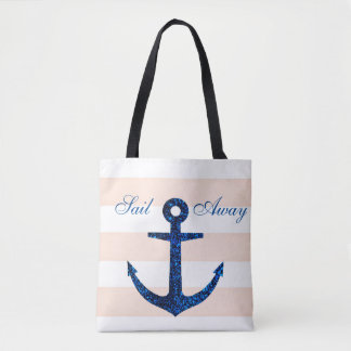 Pink Stripe & Blue Anchor Tote