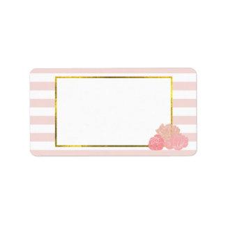 Pink Stripe & Blush Peony Address Labels