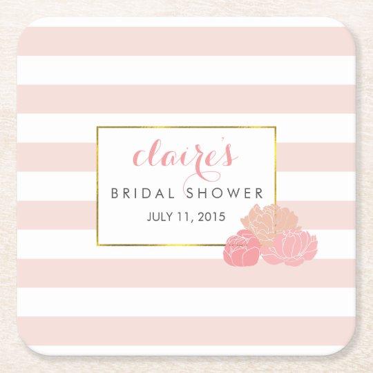 Pink Stripe & Blush Peony Bridal Shower Coasters