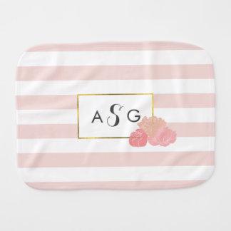 Pink Stripe & Blush Peony Monogram Burp Cloth