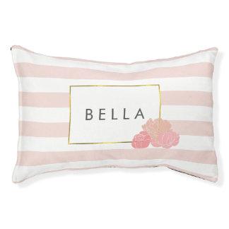 Pink Stripe & Blush Peony Personalised Dog Bed