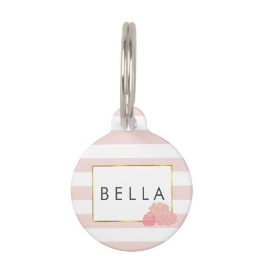 Pink Stripe & Blush Peony Personalised Pet Tag