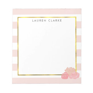 Pink Stripe & Blush Peony Personalized Notepad