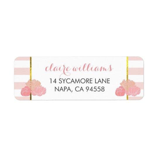 Pink Stripe & Blush Peony Return Address Labels