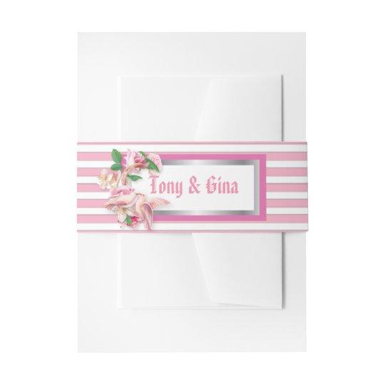 Pink Stripe Floral Doves Wedding Porstage Invitation Belly