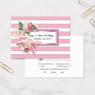 Pink Stripe Floral Doves Wedding RSVP Card