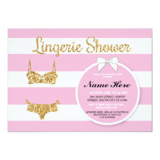Pink Stripe & Gold Lingerie Shower Bridal Invite
