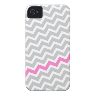 Pink stripe gray diagonal chevron zigzag pattern iPhone 4 Case-Mate case