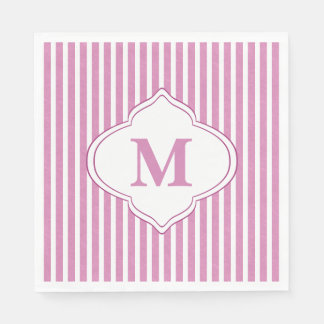 Pink Stripe Monogram Disposable Serviette