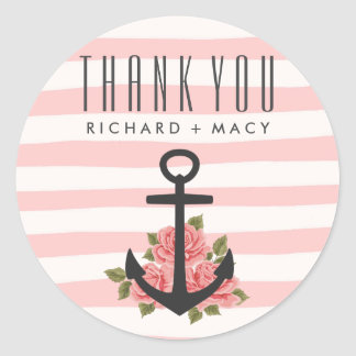 Pink Stripe Nautical Wedding Thank You Stickers