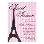 Pink Stripe Paris Themed Sweet 16 Birthday 13 Cm X 18 Cm Invitation Card