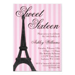 Pink Stripe Paris Themed Sweet 16 Birthday Personalized Invite