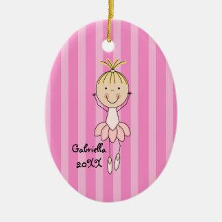 Pink Striped Ballerina Christmas Ornament