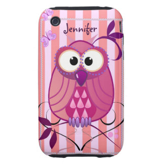 Pink Striped case with Owl & custom Name iPhone 3 Tough Covers