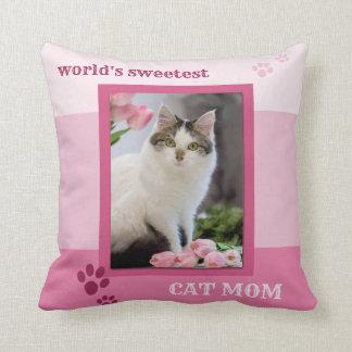 Pink Striped Cat Mum Photo Pillow