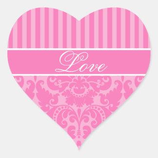 Pink Striped Damask Love Sticker