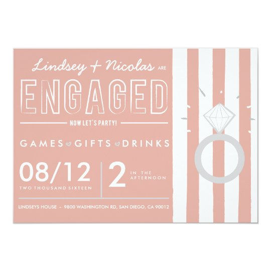 Pink Striped Engagement Party Invitation