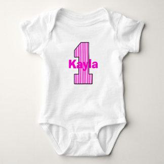 Pink Striped First Birthday Girl Shirt