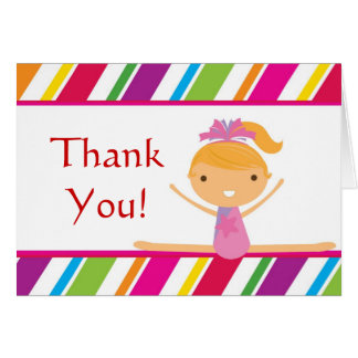 Pink Striped Girl Gymnast Birthday Party Thank You Card