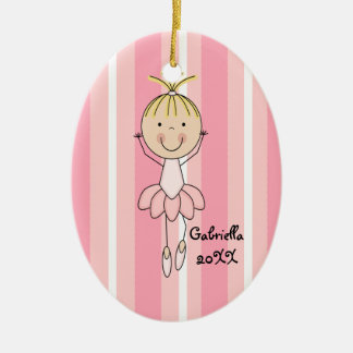 Pink Striped in Pink Ballerina Christmas Ornament