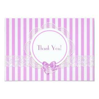 Pink Striped Lace Thank You Card