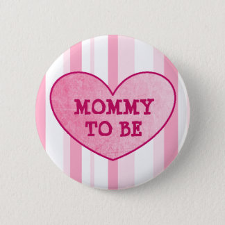 Pink Striped Mommy To Be Baby Shower Button