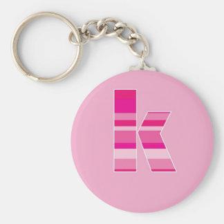 Pink Striped Monogram - Letter K Basic Round Button Key Ring