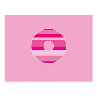 Pink Striped Monogram - Letter O Postcard