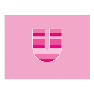 Pink Striped Monogram - Letter U Postcards