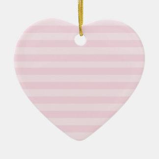 Pink Striped Pattern Ceramic Heart Decoration