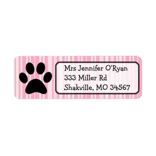 Pink Striped Paw Print Return Address Label