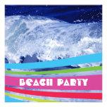 Pink Striped Salt Water Ocean Beach Party Invitation
