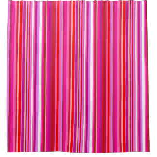 Pink Striped Shower Curtain