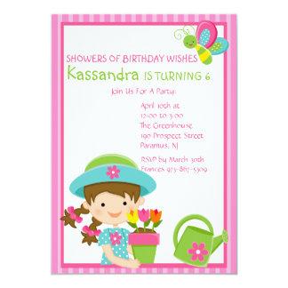 Pink Striped Spring Girl Birthday Invitation