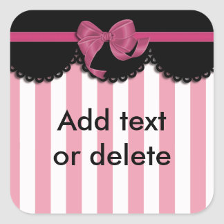 Pink Stripes and Black Lace Square Sticker