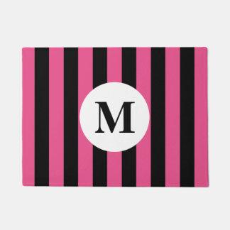 Pink stripes and custom monogram design doormat