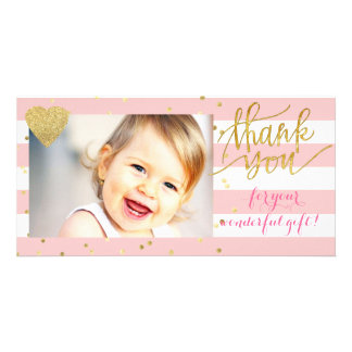 pink stripes and gold dots thank you card