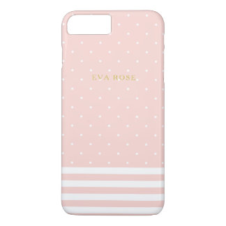 Pink Stripes and Polka Dots iPhone 7+ Case